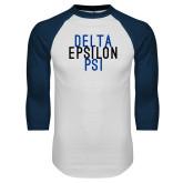 White/Navy Raglan Baseball T Shirt-Stacked Word Mark