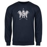 Navy Fleece Crew-Triple Lions Star