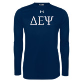 Under Armour Navy Long Sleeve Tech Tee-Greek Letters