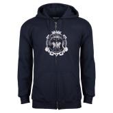 Navy Fleece Full Zip Hoodie-Delta Epsilon Psi Shield