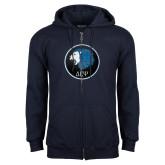 Navy Fleece Full Zip Hoodie-Lion