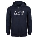 Navy Fleece Full Zip Hoodie-Greek Letters
