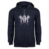 Navy Fleece Full Zip Hoodie-Triple Lions Star