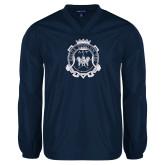 V Neck Navy Raglan Windshirt-Delta Epsilon Psi Shield