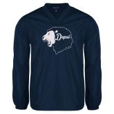 V Neck Navy Raglan Windshirt-Lion Head Depsi