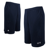 Russell Performance Navy 10 Inch Short w/Pockets-Greek Letters