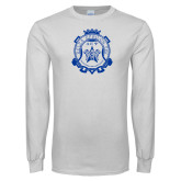 White Long Sleeve T Shirt-Delta Epsilon Psi Shield