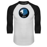 White/Black Raglan Baseball T Shirt-Lion