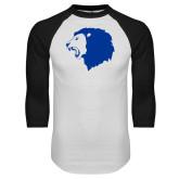 White/Black Raglan Baseball T Shirt-Lion Head