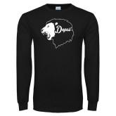 Black Long Sleeve T Shirt-Lion Head Depsi