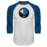 White/Royal Raglan Baseball T Shirt-Lion
