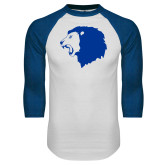 White/Royal Raglan Baseball T Shirt-Lion Head