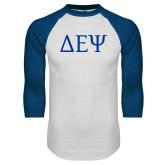White/Royal Raglan Baseball T Shirt-Greek Letters