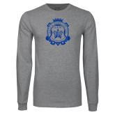 Grey Long Sleeve T Shirt-Delta Epsilon Psi Shield