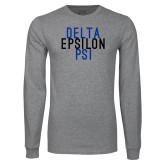 Grey Long Sleeve T Shirt-Stacked Word Mark