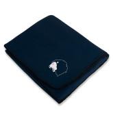 Navy Arctic Fleece Blanket-Lion Head