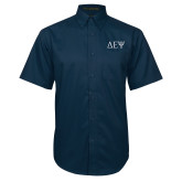 Navy Twill Button Down Short Sleeve-Greek Letters