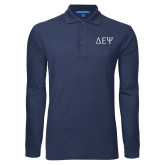 Navy Long Sleeve Polo-Greek Letters