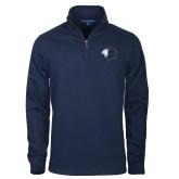 Navy Slub Fleece 1/4 Zip Pullover-Lion Head