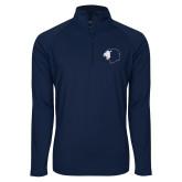 Sport Wick Stretch Navy 1/2 Zip Pullover-Lion Head
