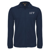Fleece Full Zip Navy Jacket-Greek Letters