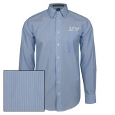 Mens French Blue/White Striped Long Sleeve Shirt-Greek Letters