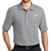 Grey Easycare Pique Polo w/Pocket-Greek Letters