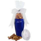 Deluxe Nut Medley Vacuum Insulated Blue Tumbler-Greek Letters  Engraved