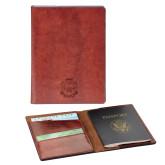 Fabrizio Brown RFID Passport Holder-Delta Epsilon Psi Shield  Engraved
