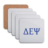 Hardboard Coaster w/Cork Backing 4/set-Greek Letters