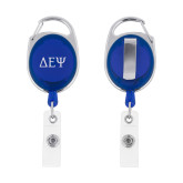 Blue Oval Retractable Badge Holder w/Clip-Greek Letters