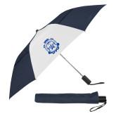 42 Inch Slim Stick Navy/White Vented Umbrella-Delta Epsilon Psi Shield