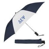 42 Inch Slim Stick Navy/White Vented Umbrella-Greek Letters