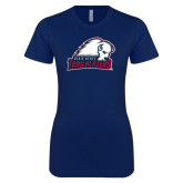Next Level Ladies SoftStyle Junior Fitted Navy Tee-Dixie State Trailblazers