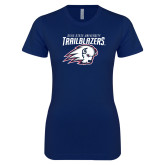 Next Level Ladies SoftStyle Junior Fitted Navy Tee-Dixie State University Trailblazers