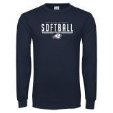 Navy Long Sleeve T Shirt-Dixie State Softball