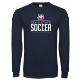 Navy Long Sleeve T Shirt-Soccer Graphic