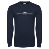 Navy Long Sleeve T Shirt-CHASS with University Name Stacked Two Line