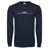 Navy Long Sleeve T Shirt-CHASS Stacked Two Line