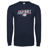 Navy Long Sleeve T Shirt-Football Graphic
