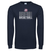Navy Long Sleeve T Shirt-Basketball Graphic