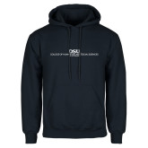 Navy Fleece Hoodie-CHASS with University Name Stacked Two Line