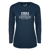 Ladies Syntrel Performance Navy Longsleeve Shirt-CHASS with University Name Stacked
