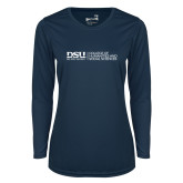 Ladies Syntrel Performance Navy Longsleeve Shirt-CHASS with University Name Horizontal