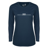 Ladies Syntrel Performance Navy Longsleeve Shirt-CHASS with University Name Stacked Two Line
