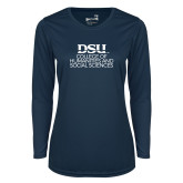 Ladies Syntrel Performance Navy Longsleeve Shirt-CHASS Stacked