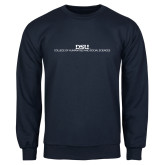 Navy Fleece Crew-CHASS Stacked Two Line
