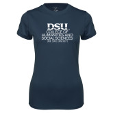 Ladies Syntrel Performance Navy Tee-CHASS with University Name Stacked