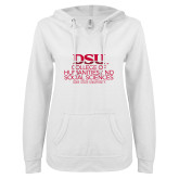 ENZA Ladies White V Notch Raw Edge Fleece Hoodie-CHASS with University Name Stacked