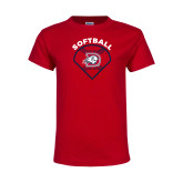 Youth Red T Shirt-Softball Graphic